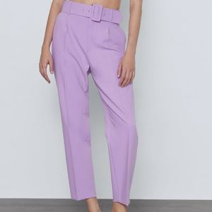 Zara lilac belted trousers